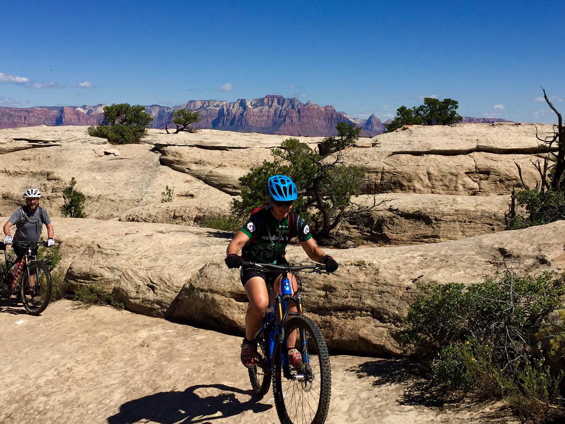 Sue George mountain biking