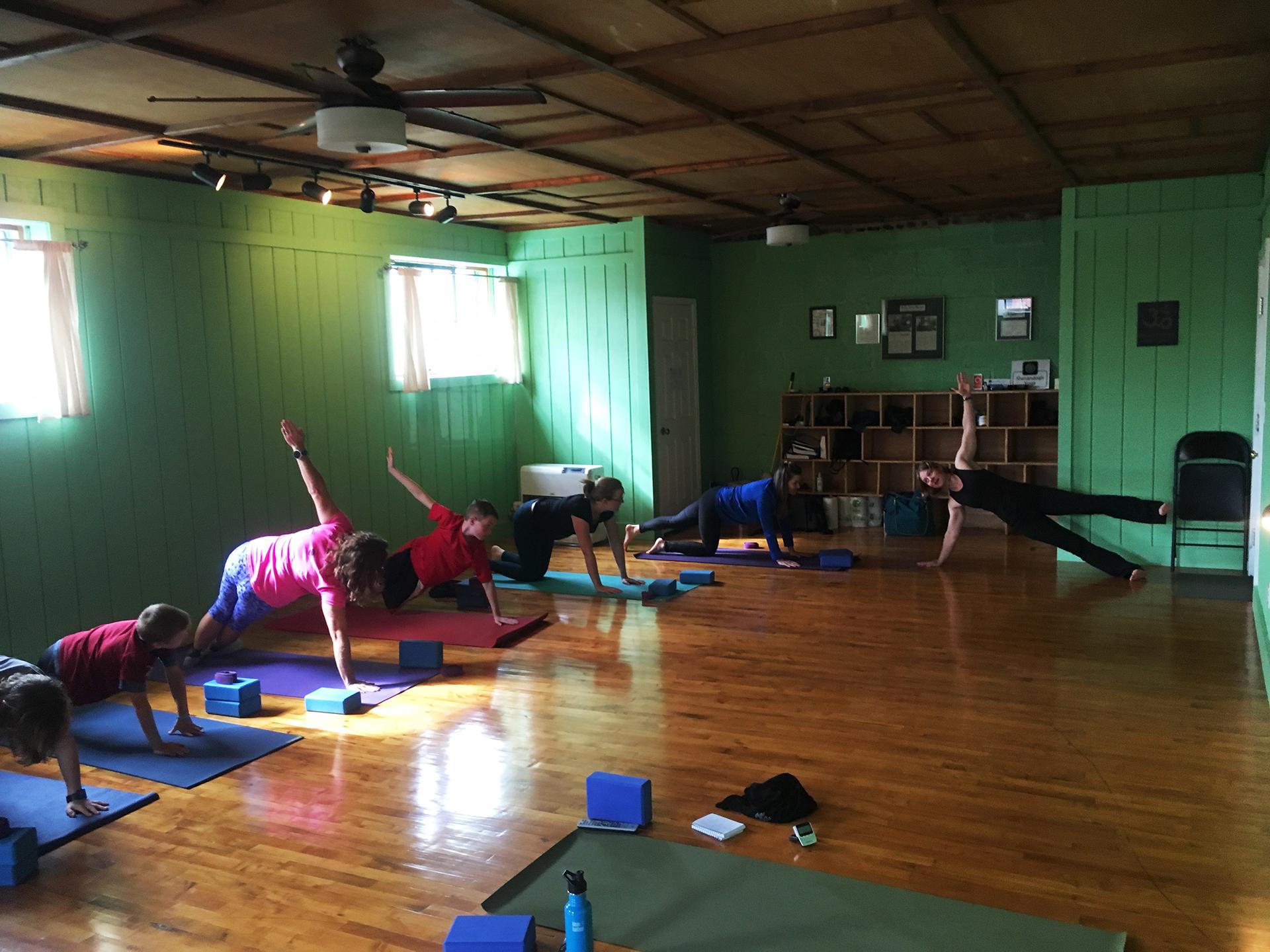 Sue George leading a class at Shenandoah Yoga class